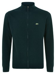 Lacoste Men's Full Zip High Collar Sweater Dark Green