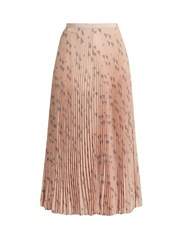 Valentino Triangle Print Silk Crepe De Chine Pleated Skirt Pink Multi