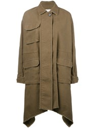 Valentino Oversized Coat Women Cotton Linen Flax 38 Green