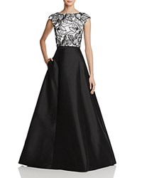 Aqua Lace Bodice Two Piece Gown Black Ivory