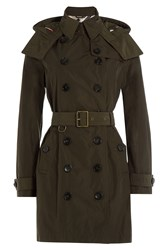 Burberry Brit Waterproof Trench Coat With Hood Green