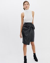 Closet Bow Detail Asymetric Skirt Black