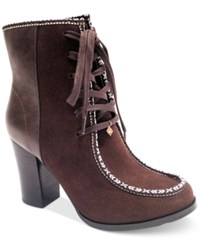 Nanette Lepore By Isabel Block Heel Lace Up Booties Only At Macy's Women's Shoes Brown