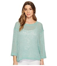 Nally And Millie Oversize Open Knit Top With Side Slits Jade Clothing Green