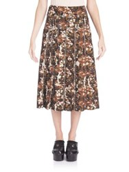 Bottega Veneta Camo Print Midi Skirt Drift Multicolor