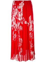 Fendi Printed Plumetis Chiffon Maxi Skirt Red