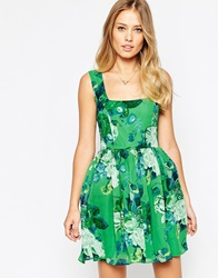 Asos Soft Skater Dress In Green Bouquet Floral Print
