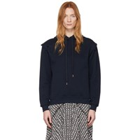 See By Chloe Navy Fleece Scallop Shoulder Hoodie
