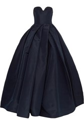 Reem Acra Pleated Silk Faille Gown Navy