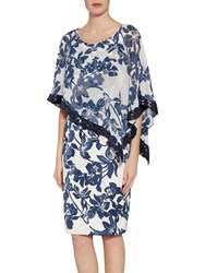 Gina Bacconi Printed Satin Dress With Chiffon Cape Navy Nude