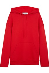 Balenciaga Hooded Cotton Jersey Sweatshirt Red
