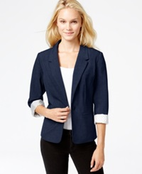 Kensie Long Sleeve Faux Pocket Blazer Heather Navy