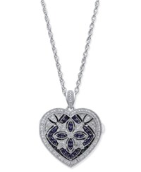 Macy's Sapphire 1 2 Ct. T.W. And Diamond 1 7 Ct. T.W. Heart Pendant Necklace In Sterling Silver Blue