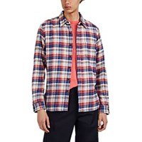 Alex Mill Plaid Cotton Flannel Shirt Blue