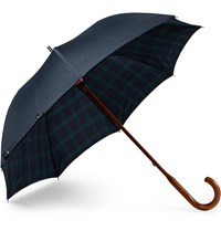 London Undercover Black Watch Lined Wood Handle Umbrella Blue