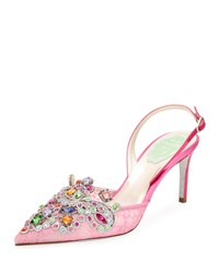 Rene Caovilla Crystal Beaded Lace Suede Halter Pumps Pink Green