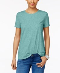 Style And Co Rolled Cuff T Shirt Only At Macy's Aqua Brook