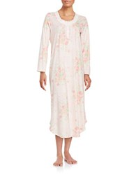Miss Elaine Floral Cotton Blend Nightgown Peach Floral