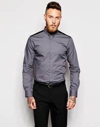 Religion X Noose And Monkey Shirt With Contrast Back Skull Collar Bar And Chain In Skinny Fit Charcoal