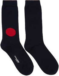 Blue Blue Japan Navy And Red Dot Socks