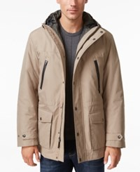 London Fog Men's 3 In 1 Hooded Coat Khaki Navy
