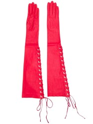 Unravel Project Long Lace Up Gloves Red