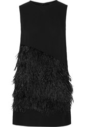 Mcq By Alexander Mcqueen Feather Embellished Cady Mini Dress Black