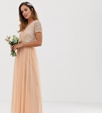 Maya Bridesmaid V Neck Maxi Dress With Delicate Sequin In Soft Peach Pink