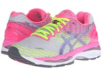 Asics Gel Nimbus 18 Silver Titanium Hot Pink Women's Running Shoes Gray