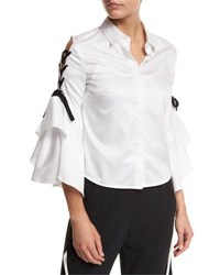 Jonathan Simkhai Lace Up Bell Sleeve Poplin Shirt White Black White Black