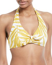 Carmen Marc Valvo Printed Halter Swim Top Yellow