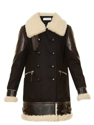 Altuzarra Ismir Shearling Trimmed Wool Blend Coat Black Multi