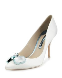 Sophia Webster Lola Gem Satin Bridal Pump Ivory