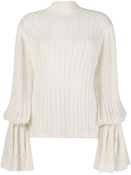 Michel Klein Pleated Knit Jumper White