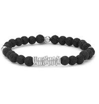 Tateossian Disc Lava Bead And Sterling Silver Bracelet Black