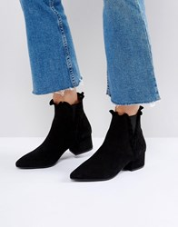 Sixty Seven Sixtyseven Black Suede Ruffle Ankle Boots Black