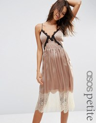 Asos Petite Satin Cami Midi Dress With Contrast Lace Brown