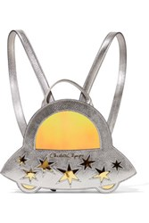 Charlotte Olympia Space Invader Pvc Paneled Metallic Textured Leather Backpack Silver