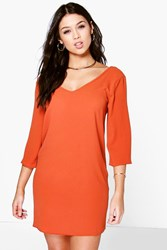 Boohoo V Front And Back Shift Dress Chestnut