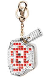 Anya Hindmarch Metallic Textured Leather Keychain Silver Red