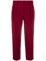 Theory Pleated Detail Cropped Trousers Red