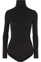Madewell Renay Stretch Cotton Blend Jersey Turtleneck Bodysuit Black