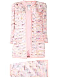 Chanel Pre Owned Geometric Tweed Collarless Skirt Suit 60