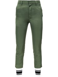 Non Tokyo Contrast Ankle Panel Trousers Green