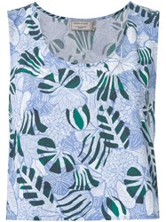 Maison Kitsune 'Ana' Hibiscus Wrap Around Top Blue