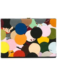Olympia Le Tan Dotted Felt Patch Book Clutch Multicolour