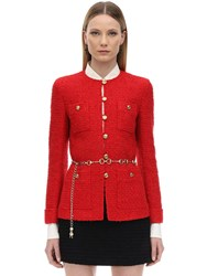 Gucci Belted Cotton Blend Boucle Jacket Red