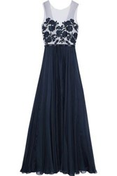 Catherine Deane Embellished Tulle And Silk Chiffon Gown Navy