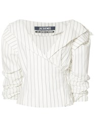 Jacquemus Striped Ruffled Sleeve Blouse White