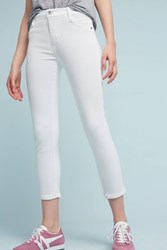 Anthropologie James Jeans Twiggy Mid Rise Skinny Cropped Petite Jeans White